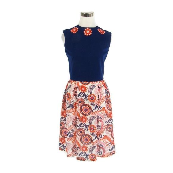 Dresses & Skirts - Blue orange A-line vintage dress XS